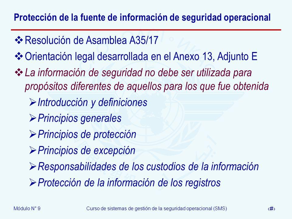 Protección de la fuente de información de seguridad operacional