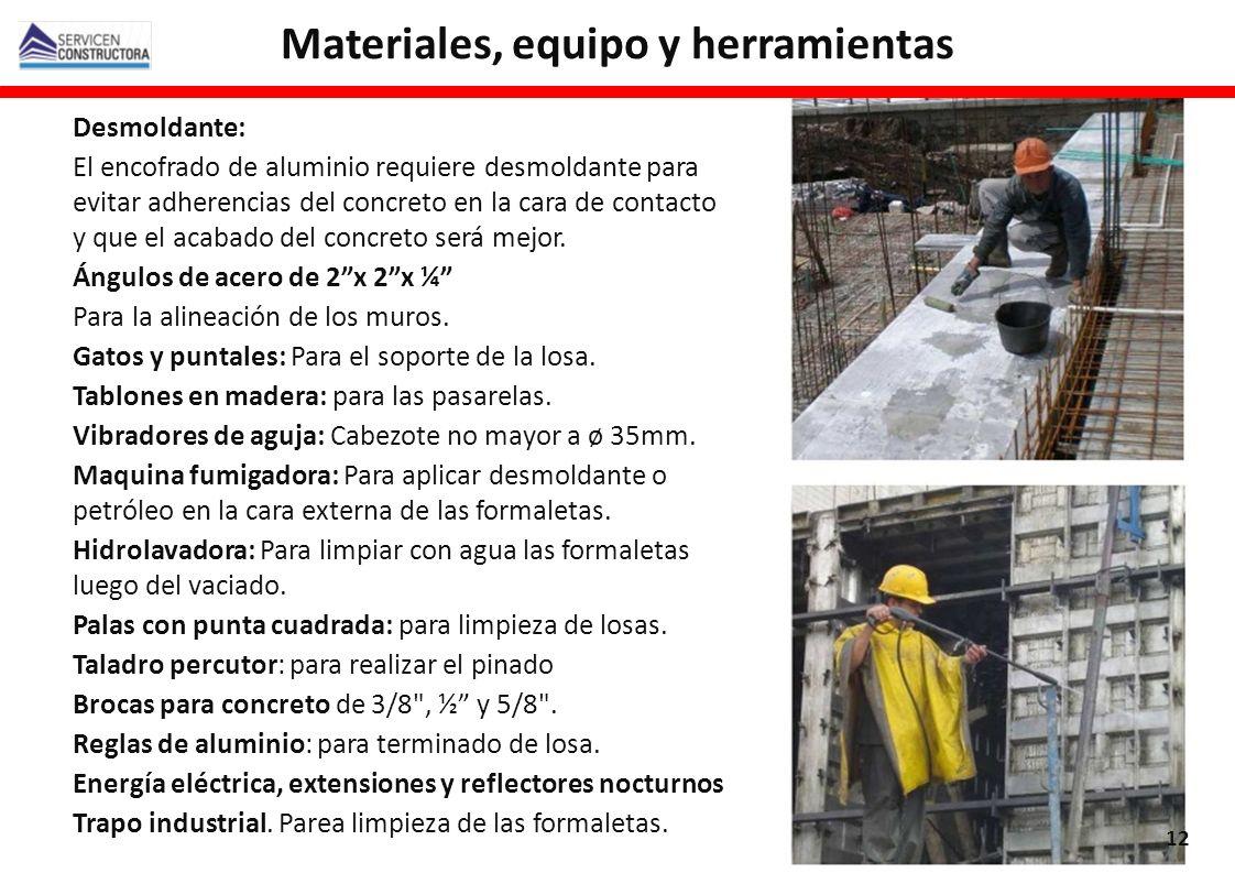 Materiales, equipo y herramientas
