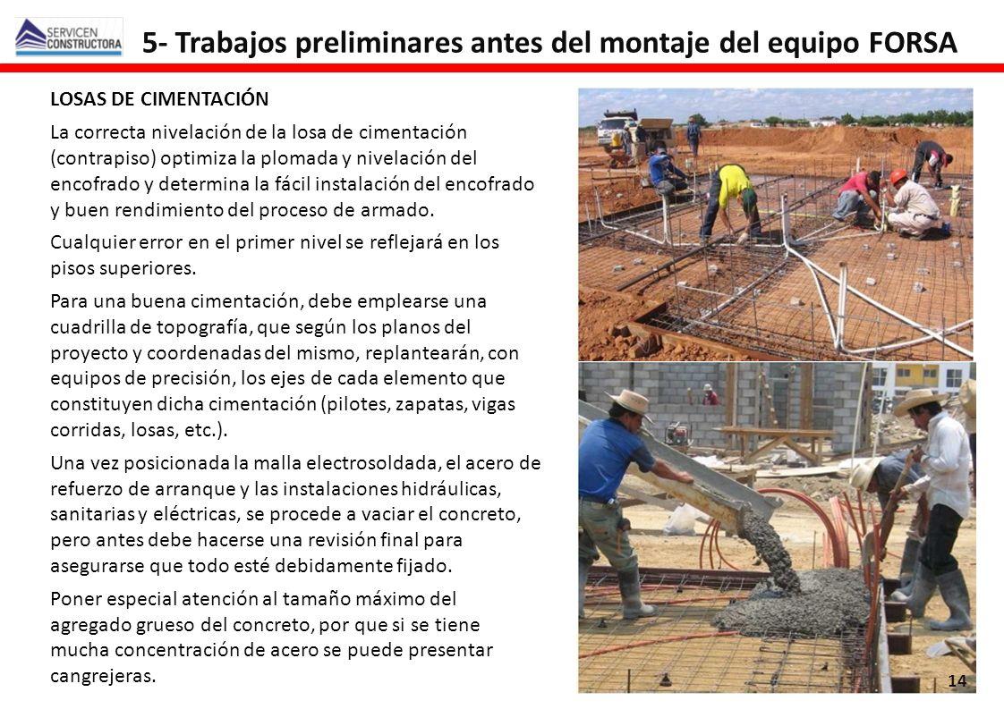 5- Trabajos preliminares antes del montaje del equipo FORSA