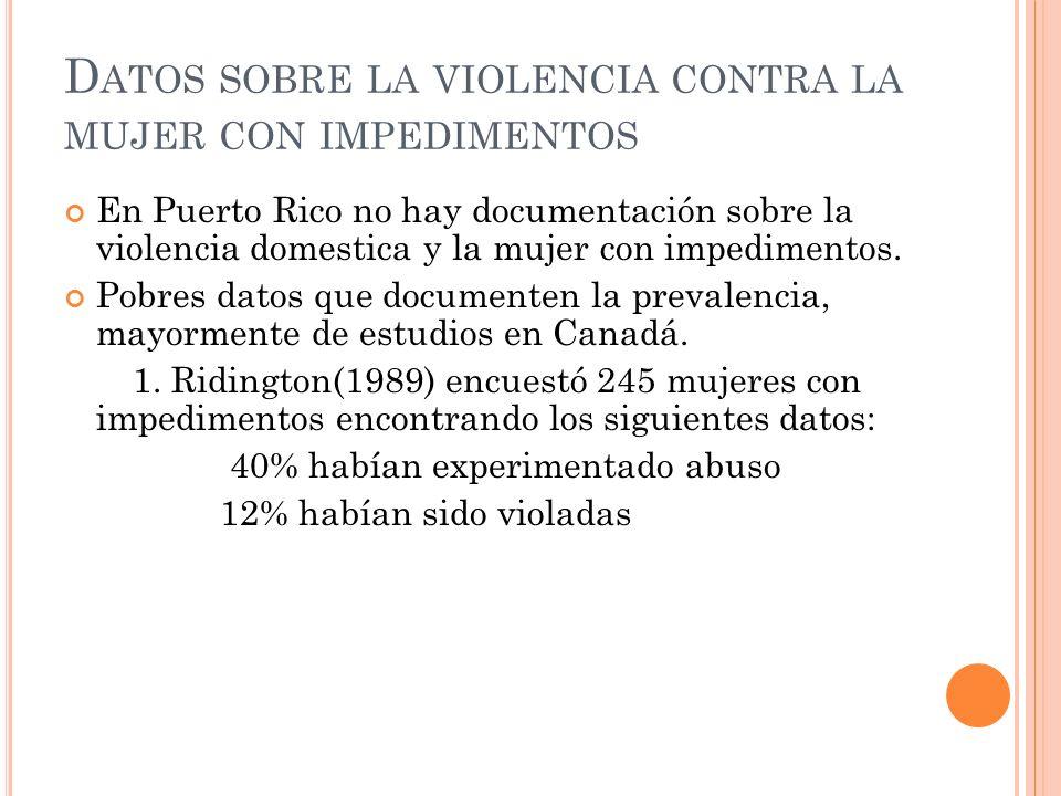 Datos sobre la violencia contra la mujer con impedimentos