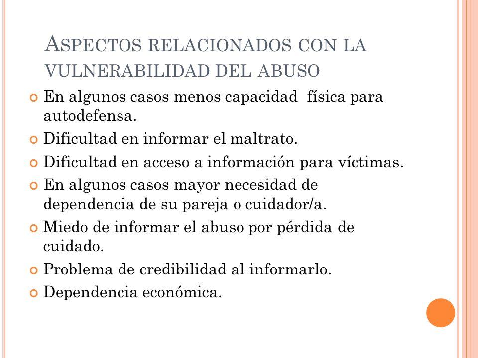 Aspectos relacionados con la vulnerabilidad del abuso