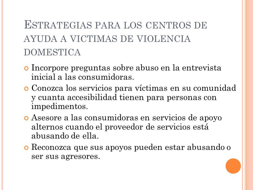 Estrategias para los centros de ayuda a victimas de violencia domestica