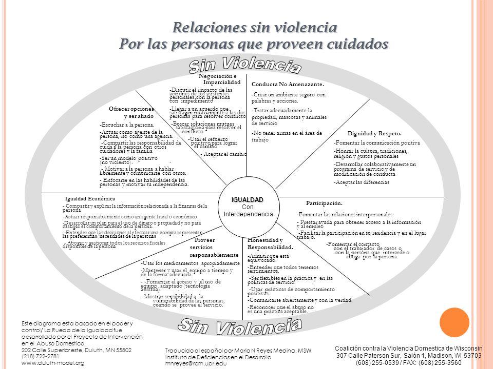 Relaciones sin violencia Por las personas que proveen cuidados