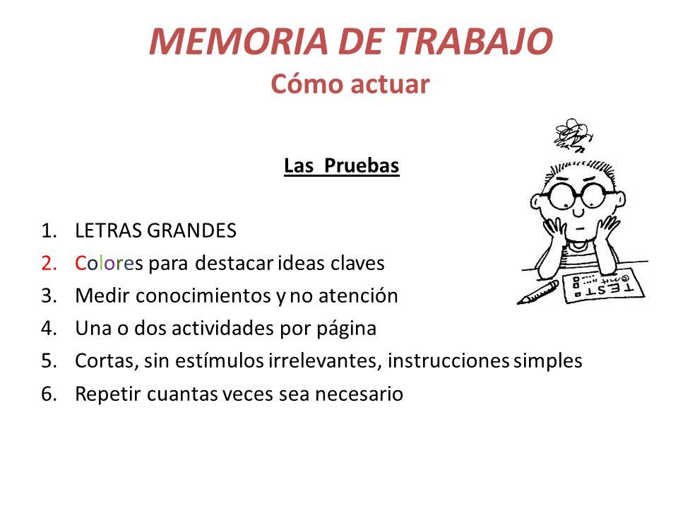 MEMORIA DE TRABAJO Cómo actuar