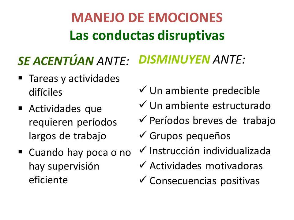 MANEJO DE EMOCIONES Las conductas disruptivas