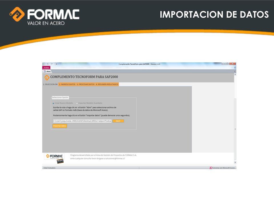 IMPORTACION DE DATOS