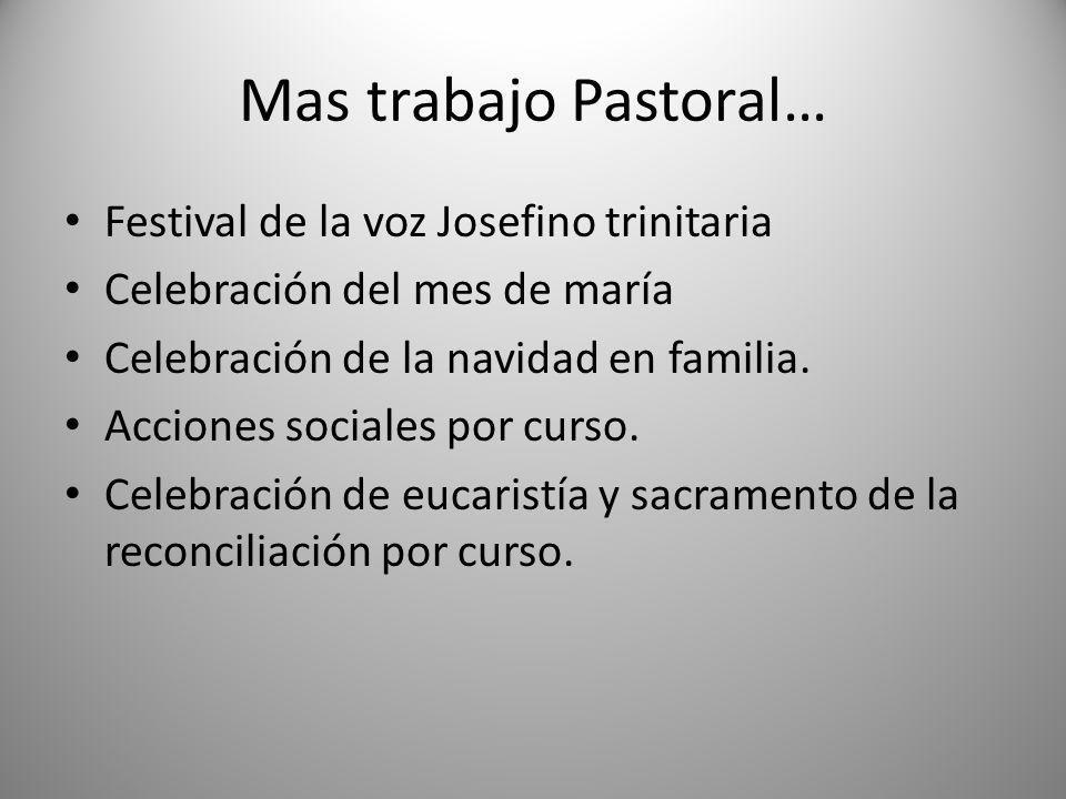 Mas trabajo Pastoral… Festival de la voz Josefino trinitaria