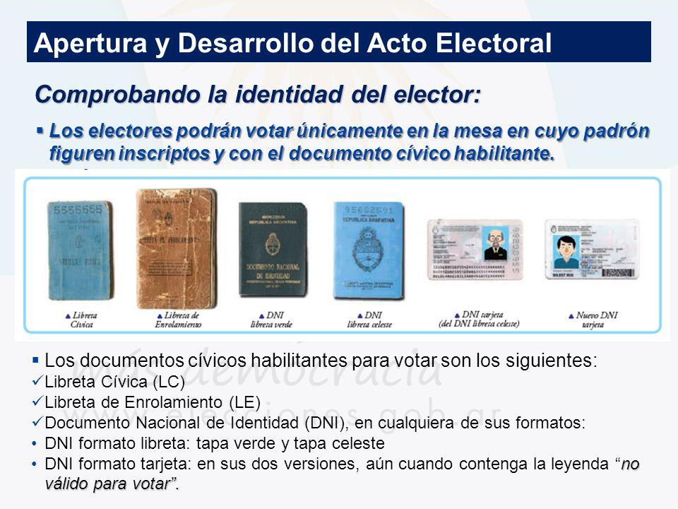 Documentos habilitados para votar