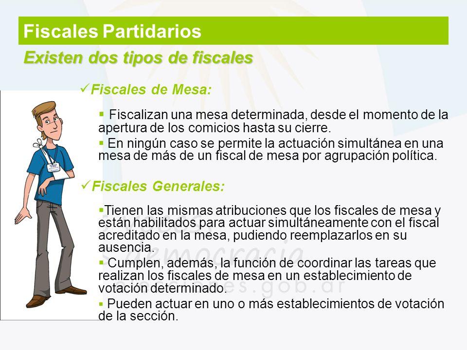 Fiscales Partidarios Existen dos tipos de fiscales Fiscales de Mesa: