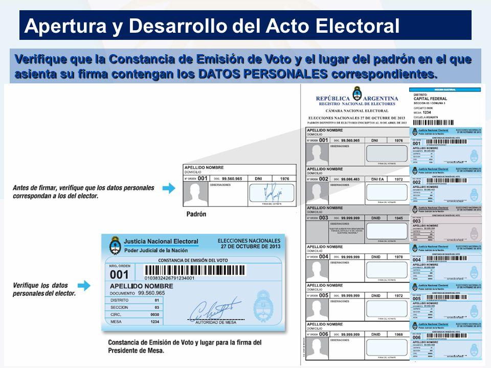 Apertura y Desarrollo del Acto Electoral
