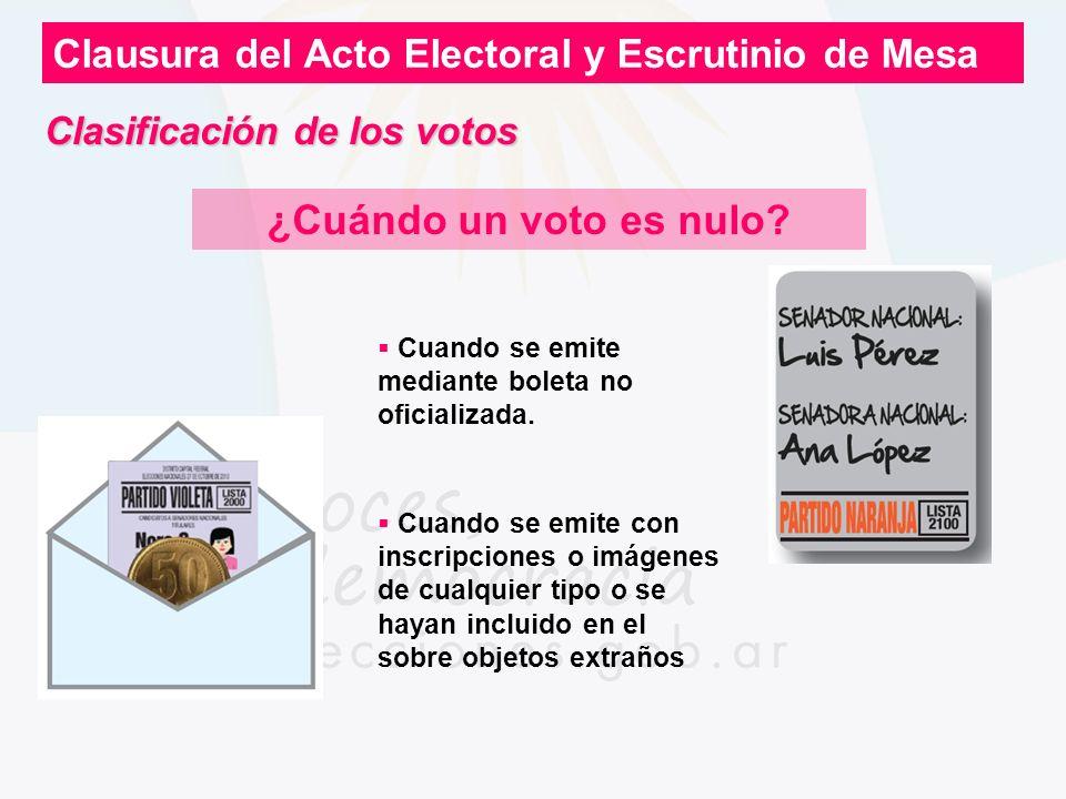 Clausura del Acto Electoral y Escrutinio de Mesa