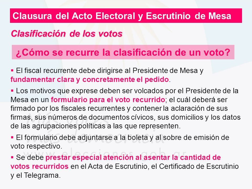 ¿Cómo se recurre la clasificación de un voto