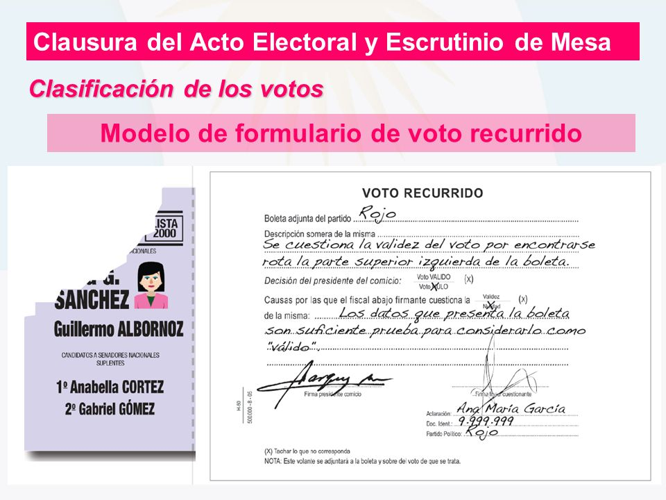 Modelo de formulario de voto recurrido