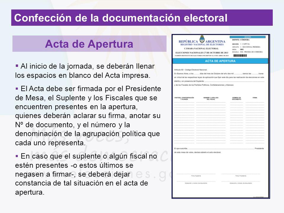 Acta de Apertura Confección de la documentación electoral