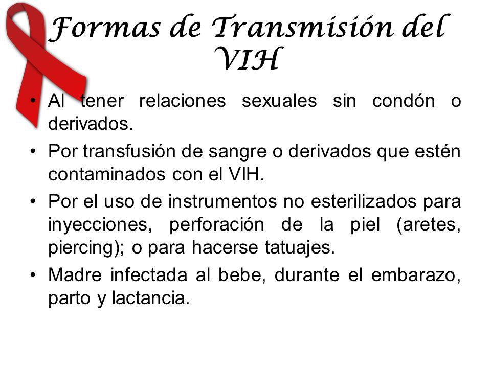 Formas de Transmisión del VIH