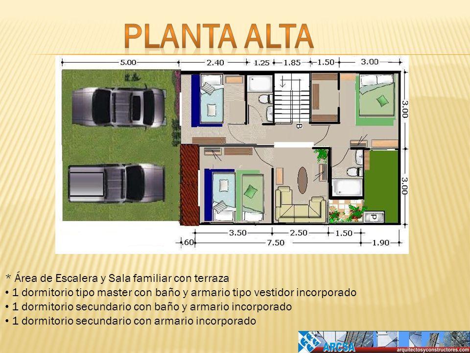 Planta alta * Área de Escalera y Sala familiar con terraza
