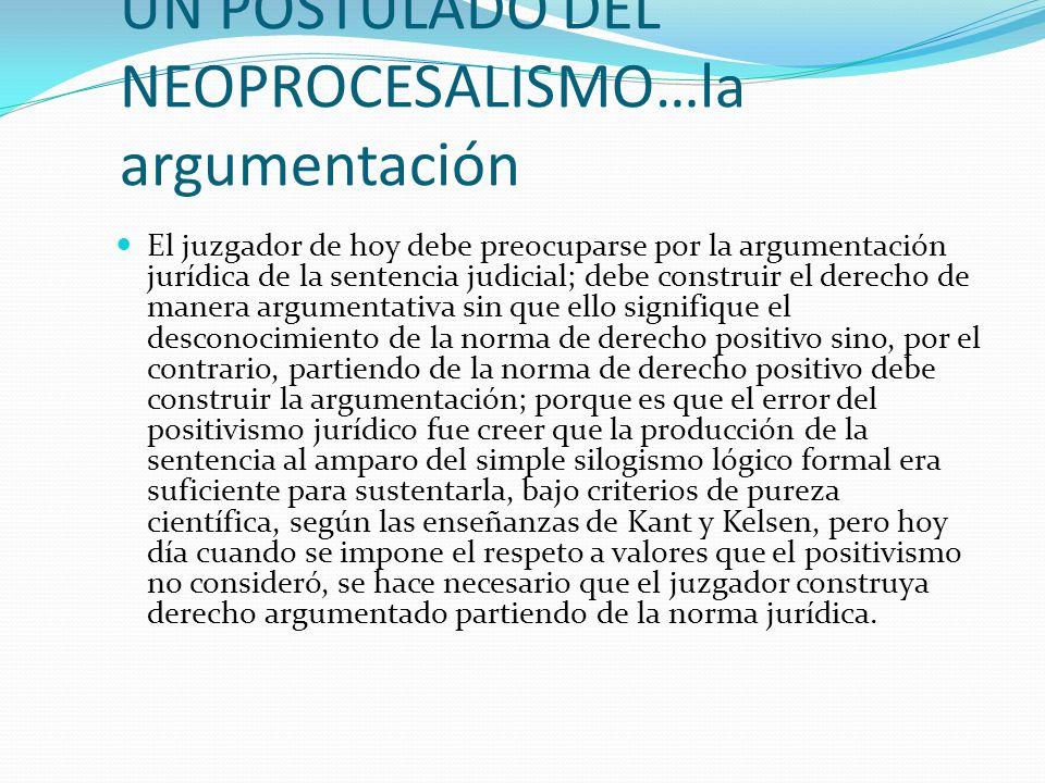 UN POSTULADO DEL NEOPROCESALISMO…la argumentación