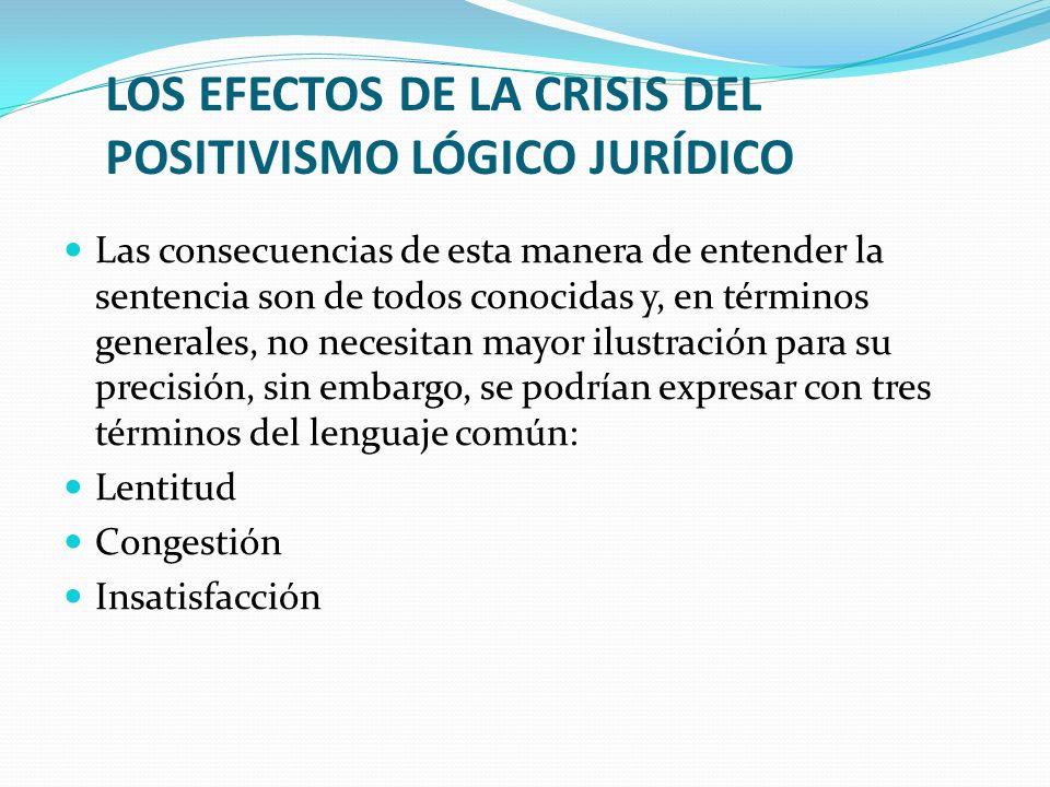 LOS EFECTOS DE LA CRISIS DEL POSITIVISMO LÓGICO JURÍDICO