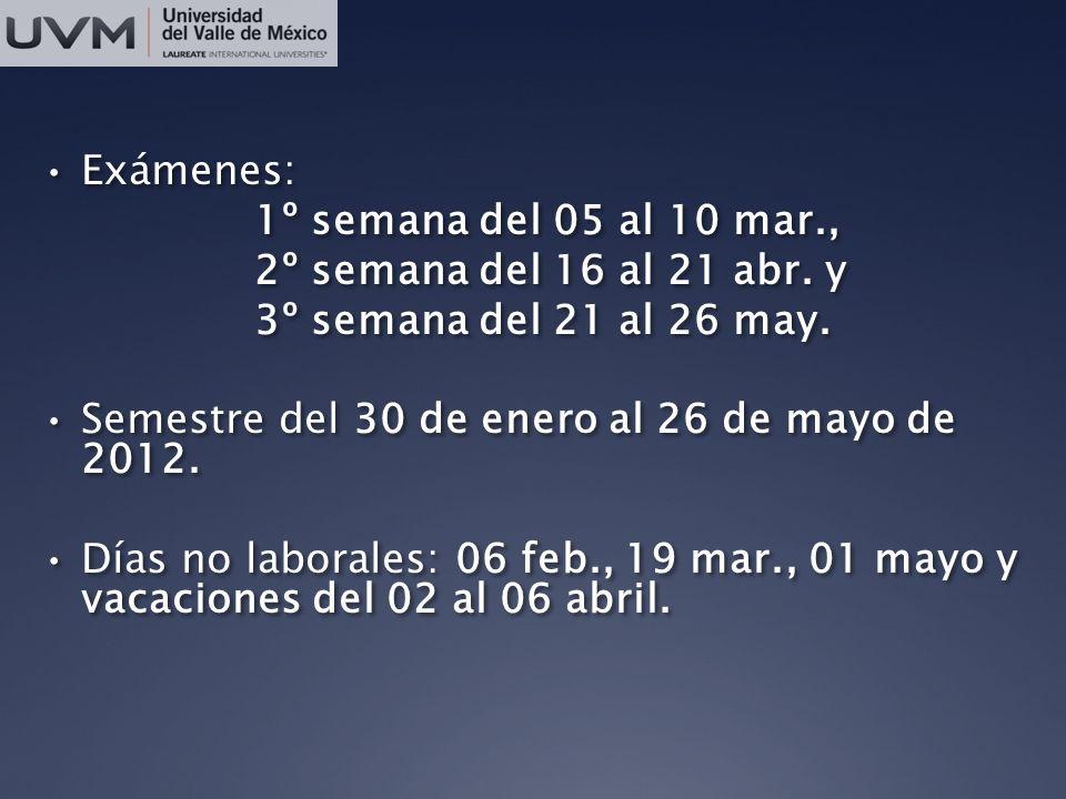 Exámenes: 1º semana del 05 al 10 mar., 2º semana del 16 al 21 abr. y. 3º semana del 21 al 26 may.