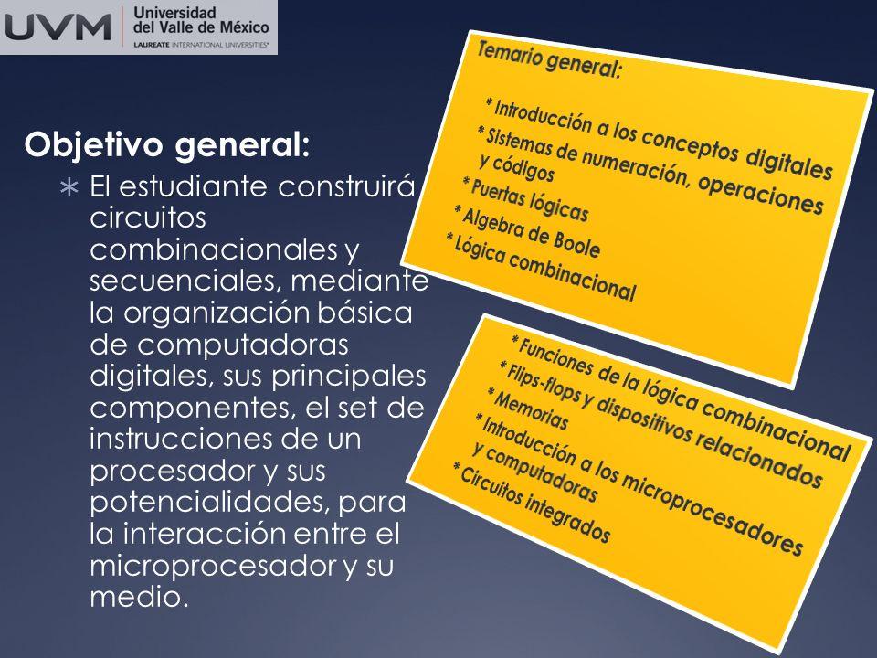 Temario general: * Introducción a los conceptos digitales. * Sistemas de numeración, operaciones y códigos.