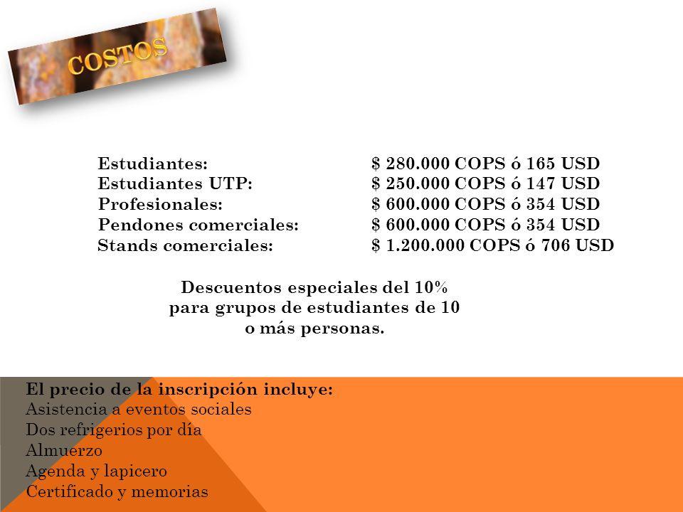 COSTOS Estudiantes: $ 280.000 COPS ó 165 USD