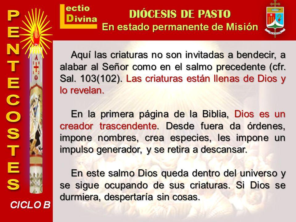 Aquí las criaturas no son invitadas a bendecir, a alabar al Señor como en el salmo precedente (cfr. Sal. 103(102). Las criaturas están llenas de Dios y lo revelan.