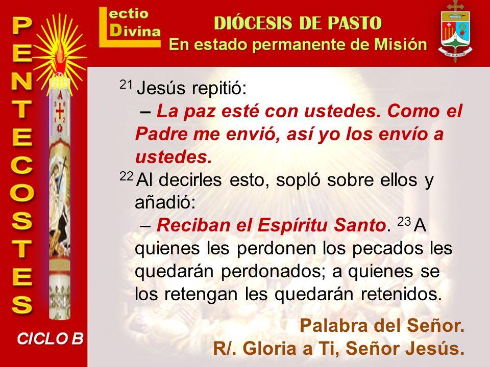 21 Jesús repitió: – La paz esté con ustedes. Como el Padre me envió, así yo los envío a ustedes. 22 Al decirles esto, sopló sobre ellos y añadió: