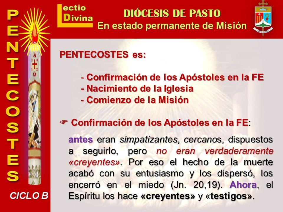 PENTECOSTES es: - Confirmación de los Apóstoles en la FE. - Nacimiento de la Iglesia. - Comienzo de la Misión.