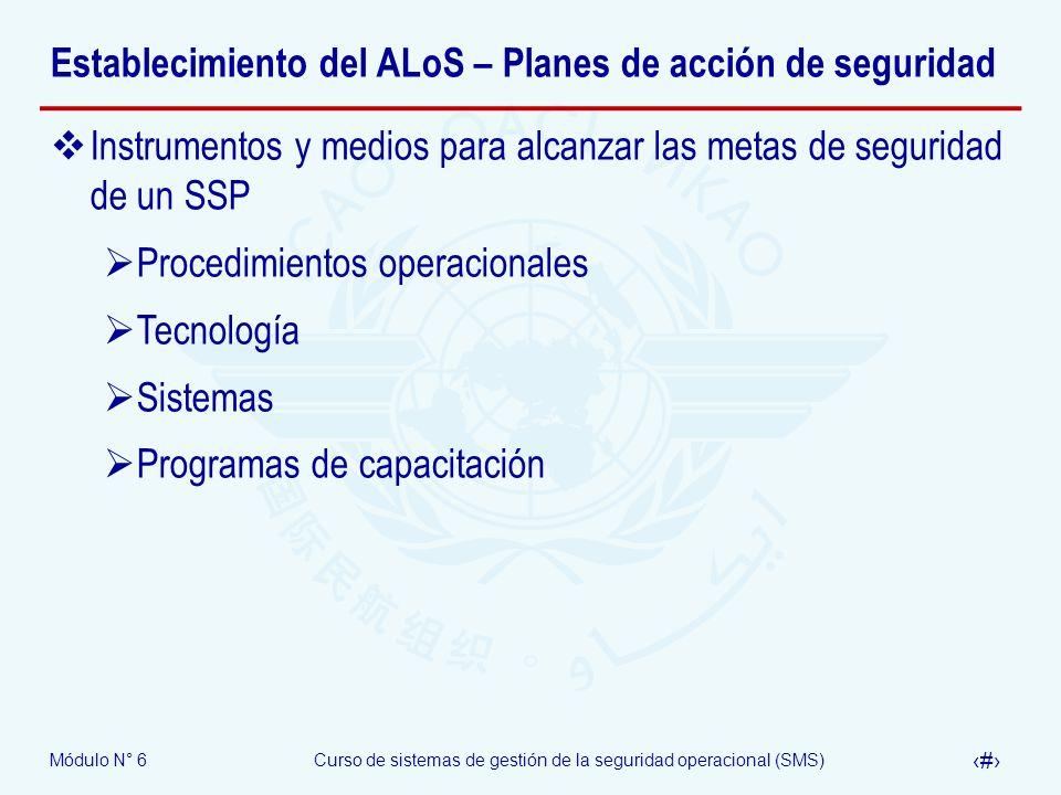 Establecimiento del ALoS – Planes de acción de seguridad