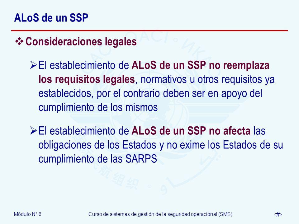 ALoS de un SSP Consideraciones legales.