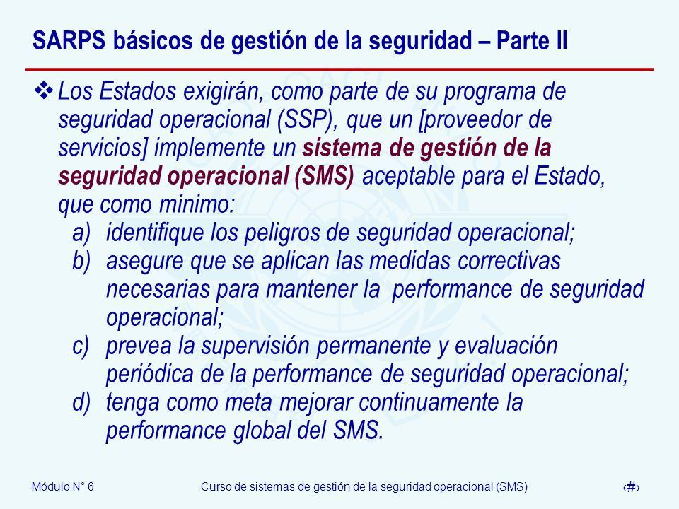 SARPS básicos de gestión de la seguridad – Parte II