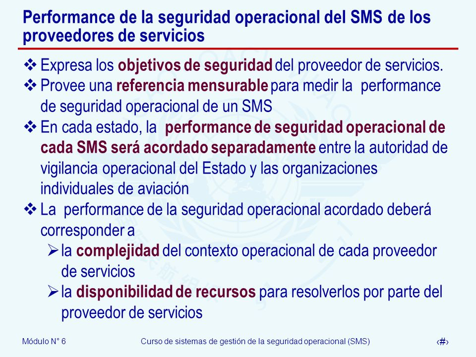 Performance de la seguridad operacional del SMS de los proveedores de servicios