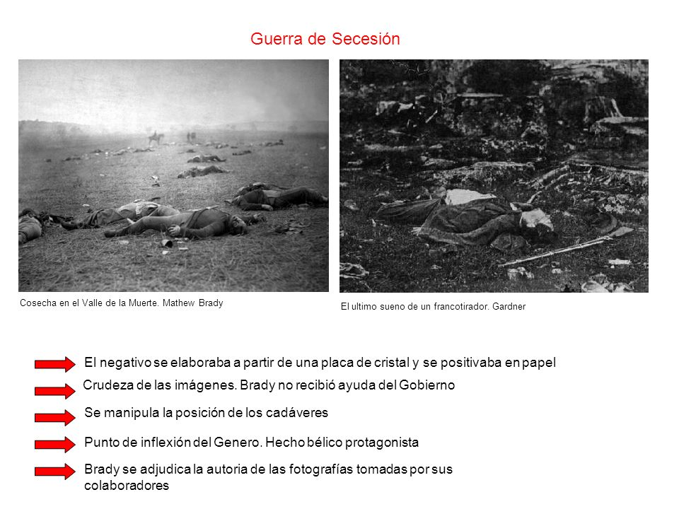 Guerra de Secesión Cosecha en el Valle de la Muerte. Mathew Brady. El ultimo sueno de un francotirador. Gardner.