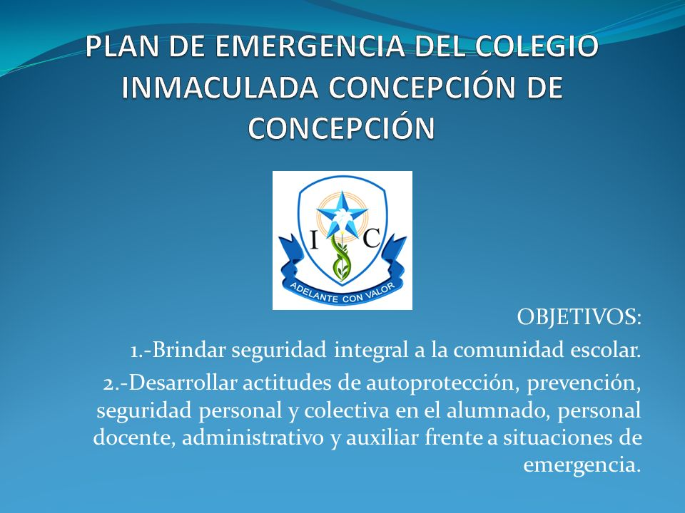 PLAN DE EMERGENCIA DEL COLEGIO INMACULADA CONCEPCIÓN DE CONCEPCIÓN
