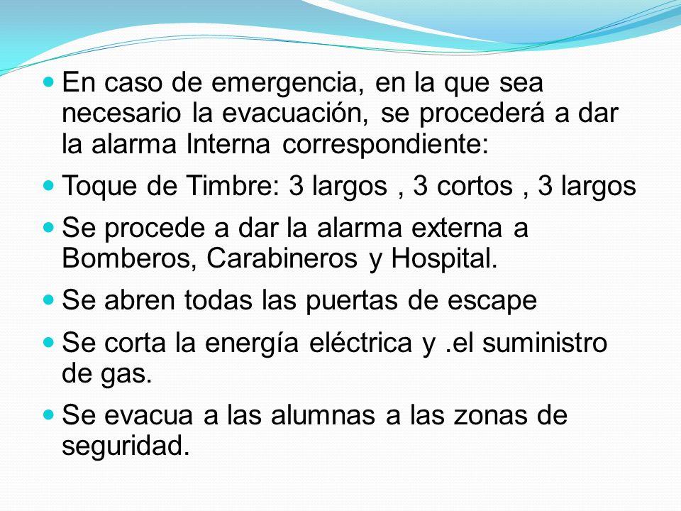 En caso de emergencia, en la que sea necesario la evacuación, se procederá a dar la alarma Interna correspondiente: