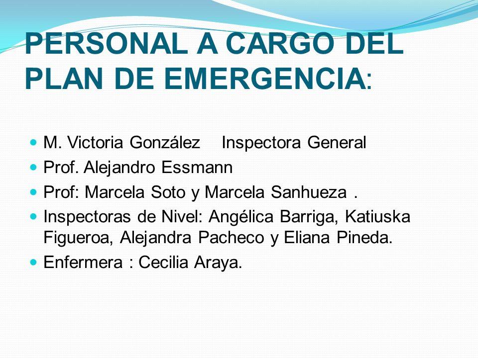 PERSONAL A CARGO DEL PLAN DE EMERGENCIA: