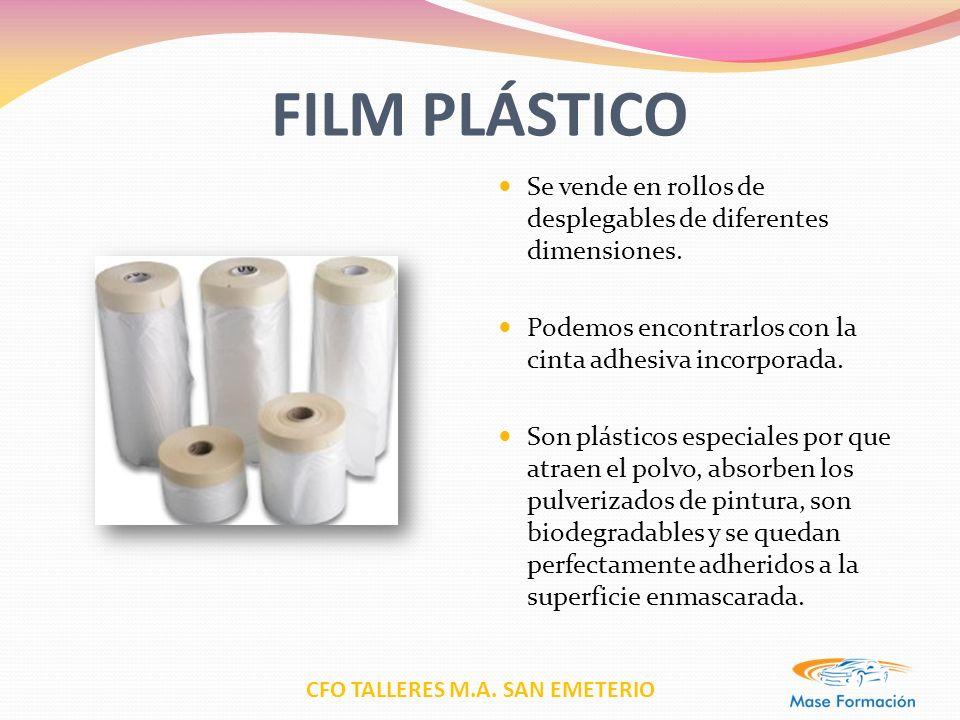 FILM PLÁSTICO Se vende en rollos de desplegables de diferentes dimensiones. Podemos encontrarlos con la cinta adhesiva incorporada.
