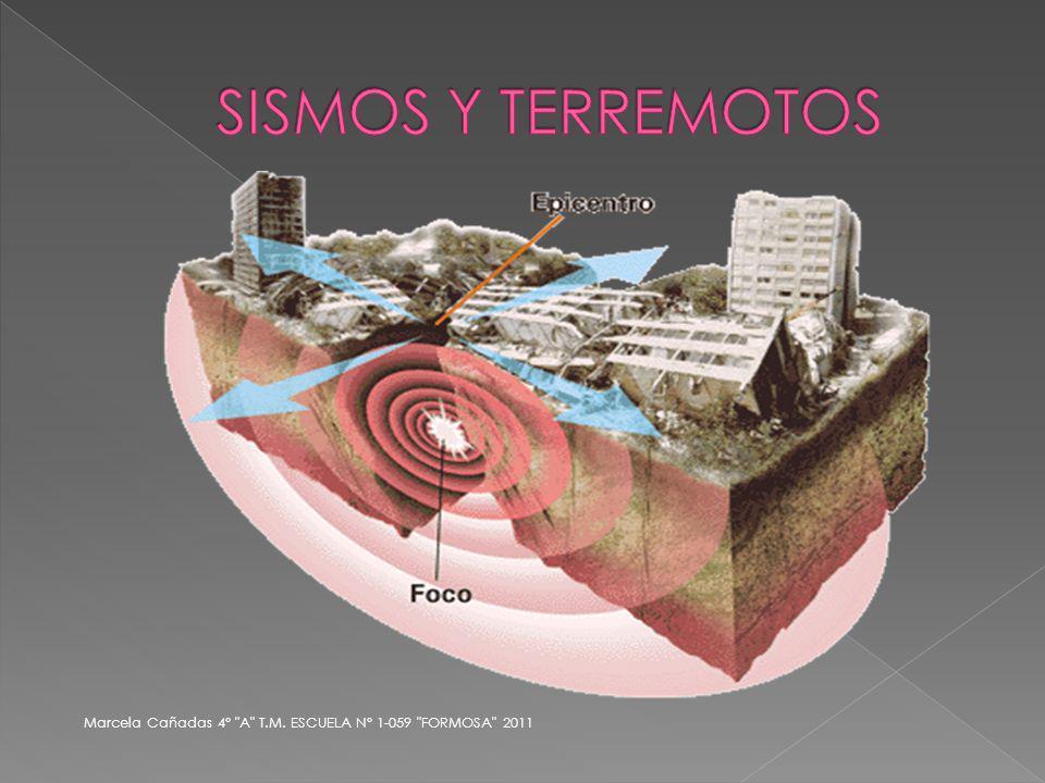 SISMOS Y TERREMOTOS Marcela Cañadas 4° A T.M. ESCUELA N° 1-059 FORMOSA 2011