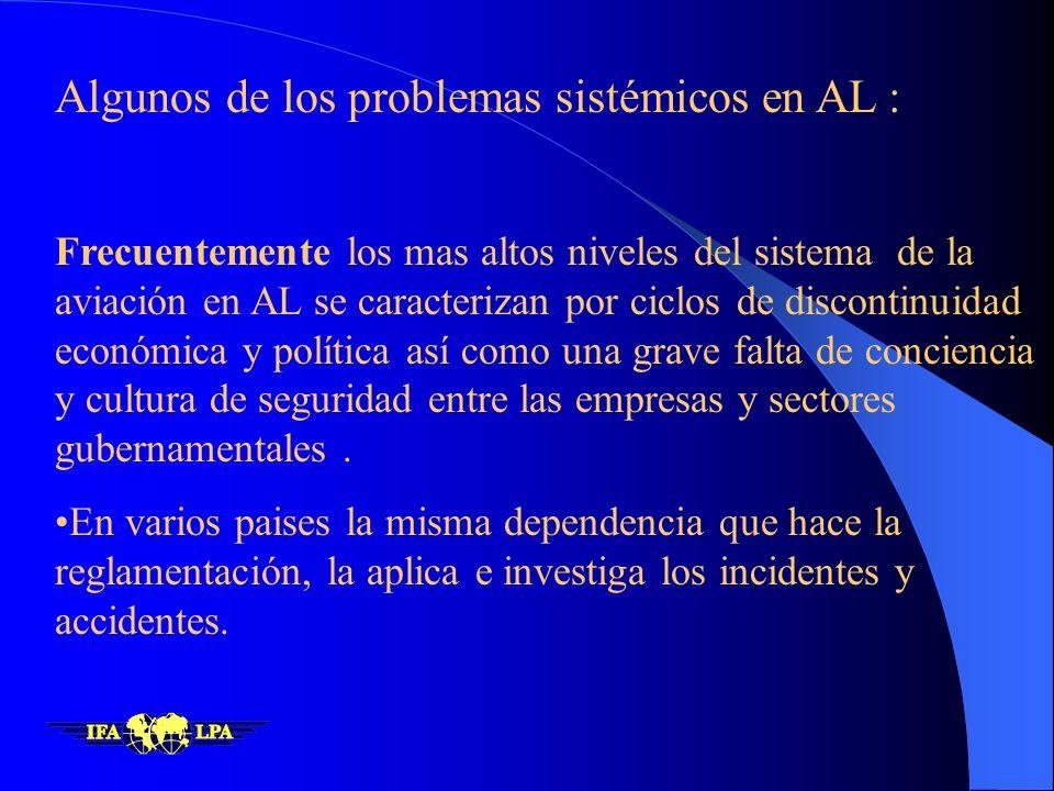 Algunos de los problemas sistémicos en AL :