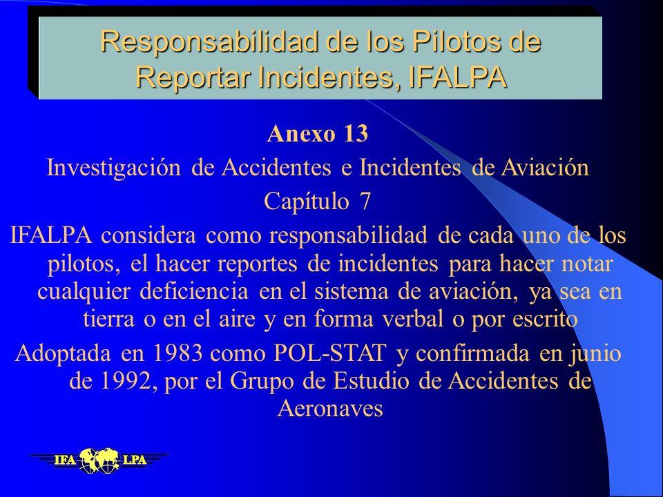 Responsabilidad de los Pilotos de Reportar Incidentes, IFALPA