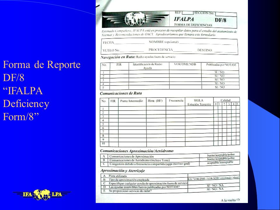 Forma de Reporte DF/8 IFALPA Deficiency Form/8