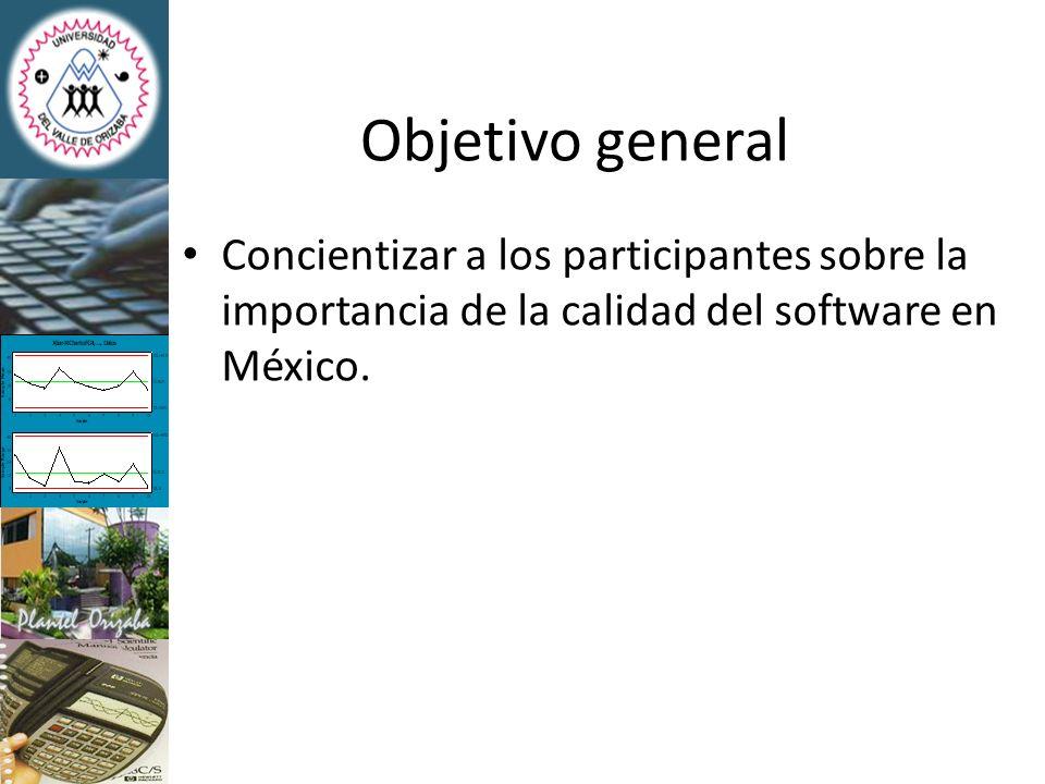 Objetivo general Concientizar a los participantes sobre la importancia de la calidad del software en México.