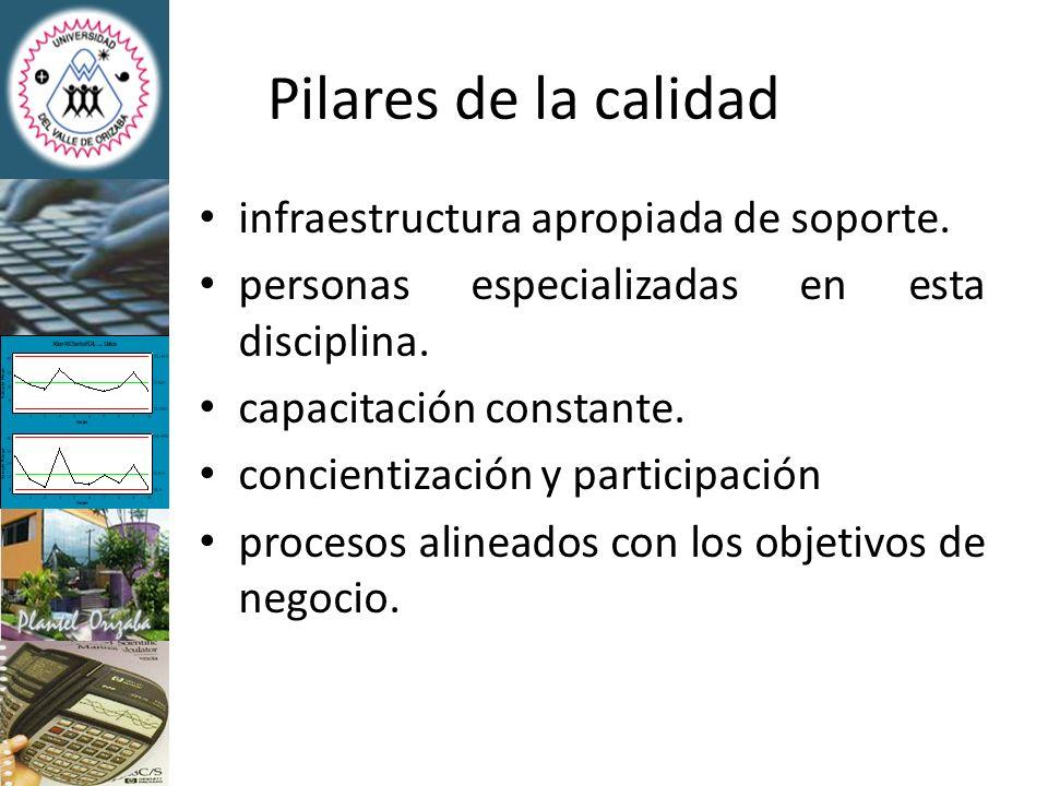 Pilares de la calidad infraestructura apropiada de soporte.