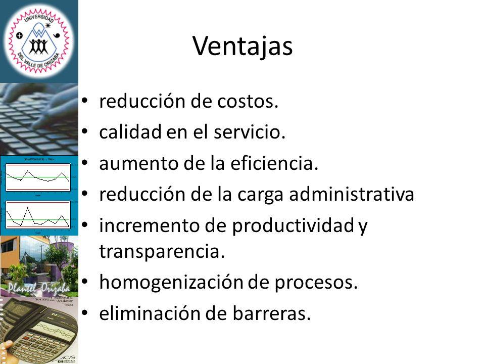 Ventajas reducción de costos. calidad en el servicio.