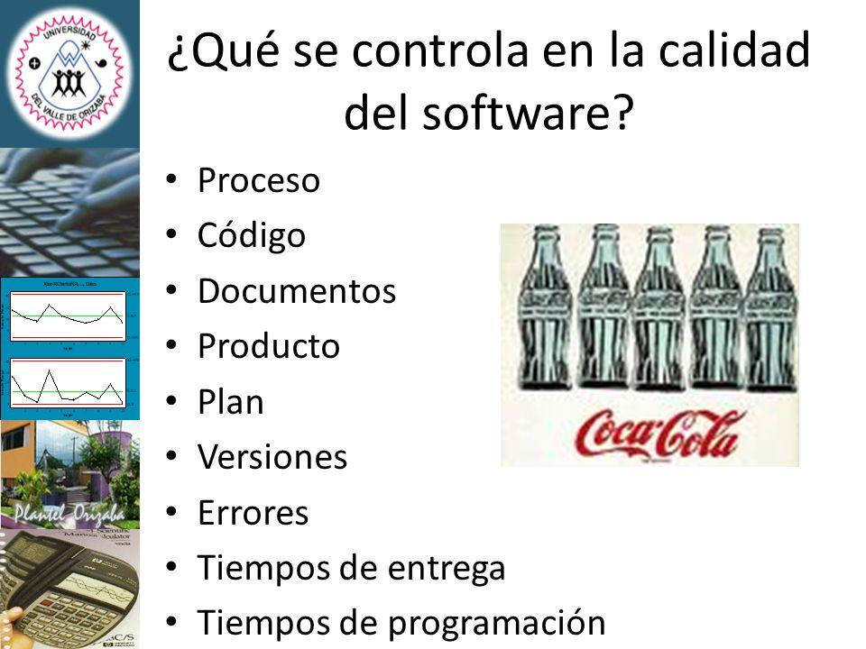 ¿Qué se controla en la calidad del software