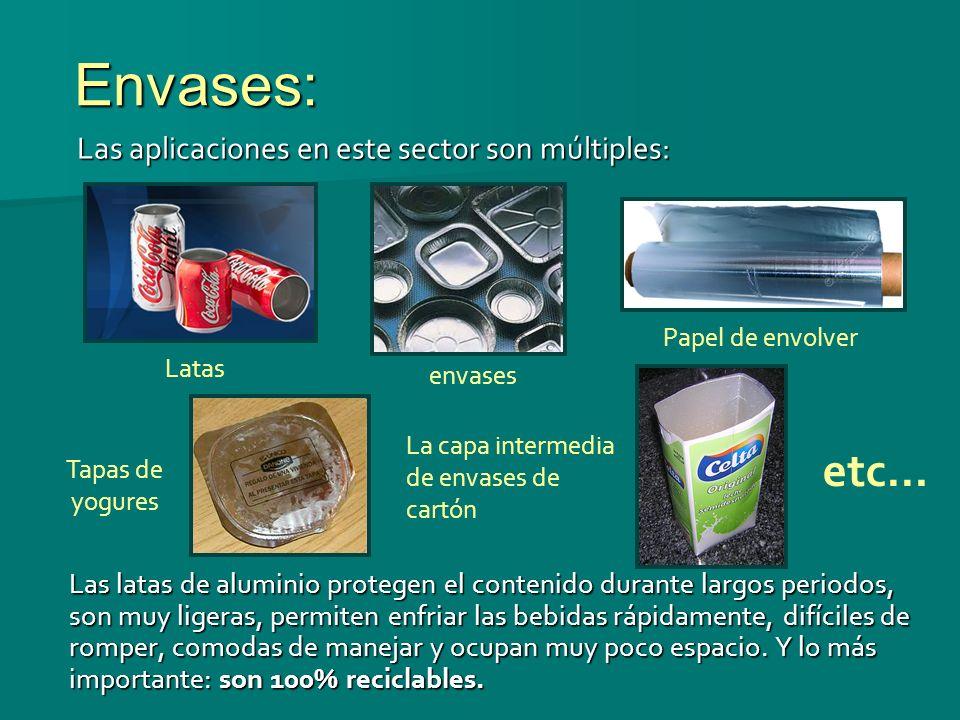 Envases: etc… Las aplicaciones en este sector son múltiples: