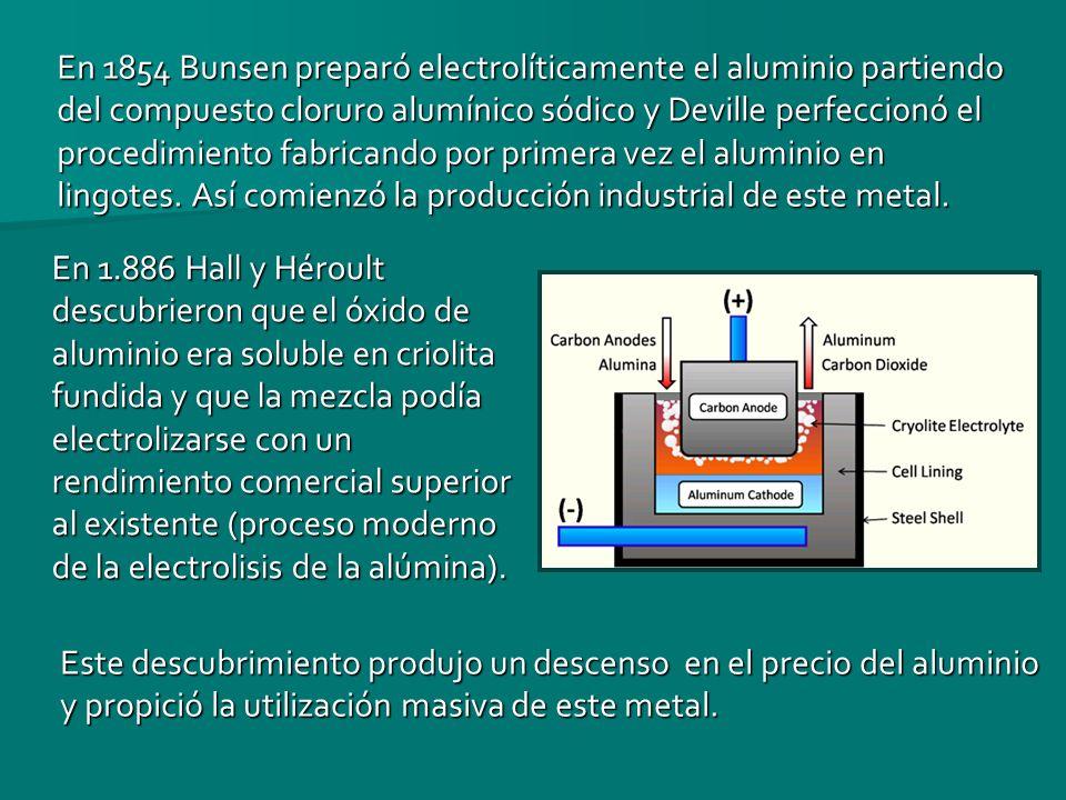 En 1854 Bunsen preparó electrolíticamente el aluminio partiendo del compuesto cloruro alumínico sódico y Deville perfeccionó el procedimiento fabricando por primera vez el aluminio en lingotes. Así comienzó la producción industrial de este metal.