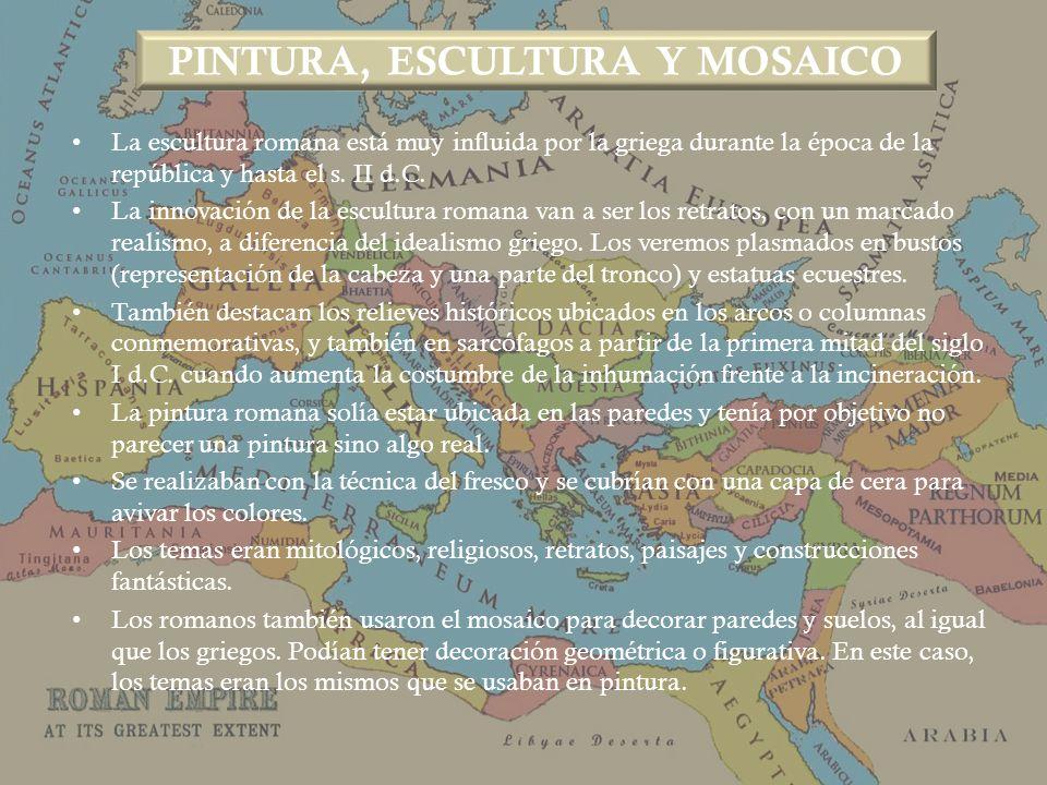 PINTURA, ESCULTURA Y MOSAICO