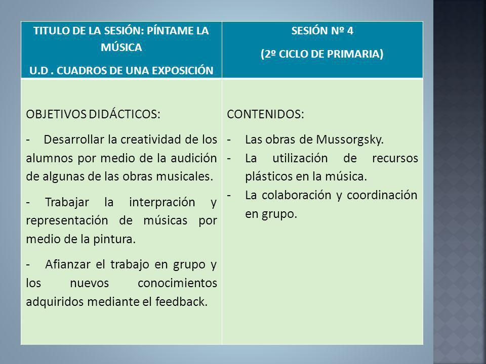 TITULO DE LA SESIÓN: PÍNTAME LA MÚSICA U.D . CUADROS DE UNA EXPOSICIÓN