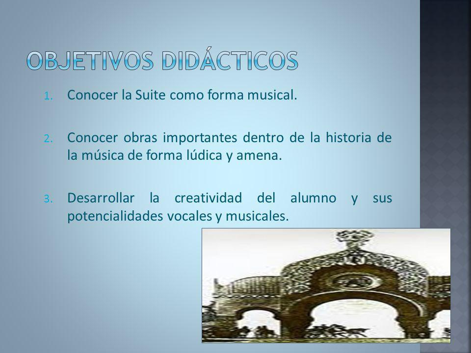 Objetivos didácticos Conocer la Suite como forma musical.